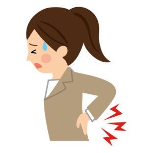 坐骨神経痛により腰に痛みがある女性のイラスト
