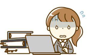 パソコン作業をしていて頭痛に襲われた女性のイラスト